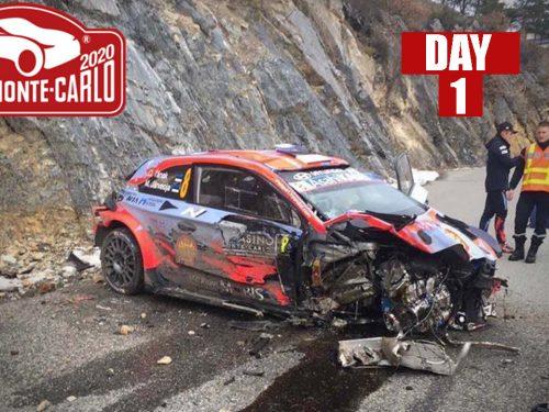 88° Rally Monte Carlo 2020 | DAY 1 | BIG CRASH, MISTAKES & BIG SHOW!