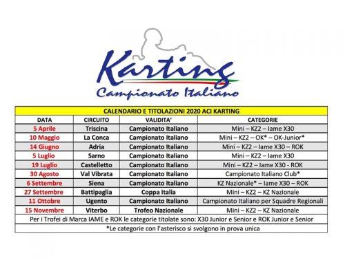 Pubblicati i Regolamenti dei Campionati Italiani ACI Karting 2020