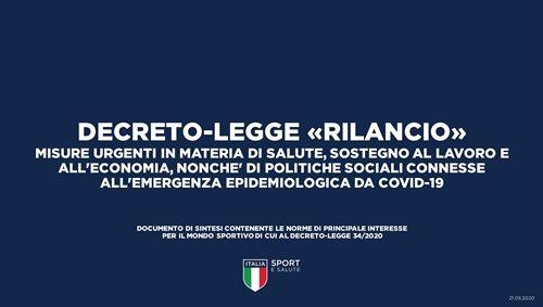 Emergenza Epidemiologica Corona Virus | Decreto Legge RILANCIO