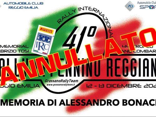 Il 41° Rally Appennino Reggiano rinviato al 2021